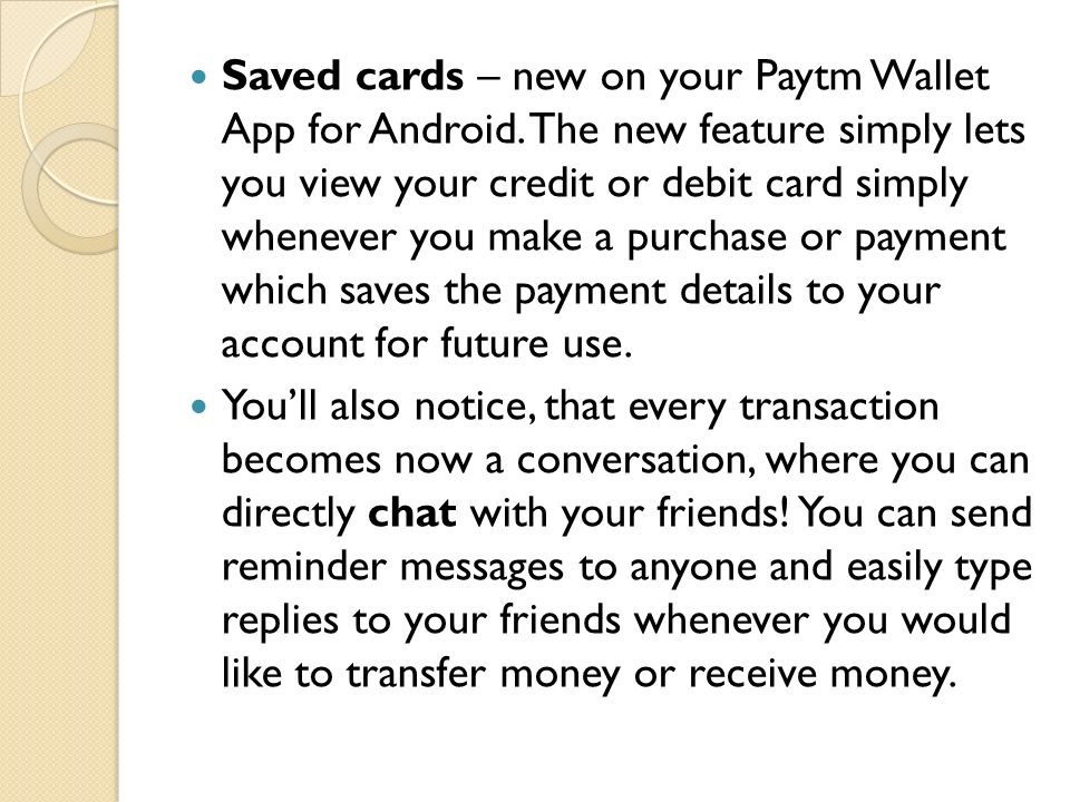 Saved cards – new on your Paytm Wallet App for Android