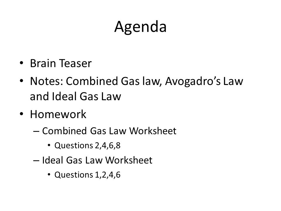 Honors Chemistry May 6 Ppt Video Online Download. Notes Bined Gas Law Avogadro's And Ideal. Worksheet. Ideal Gas Law Worksheet At Mspartners.co