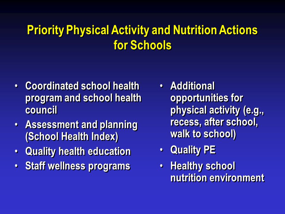 Priority Physical Activity and Nutrition Actions for Schools