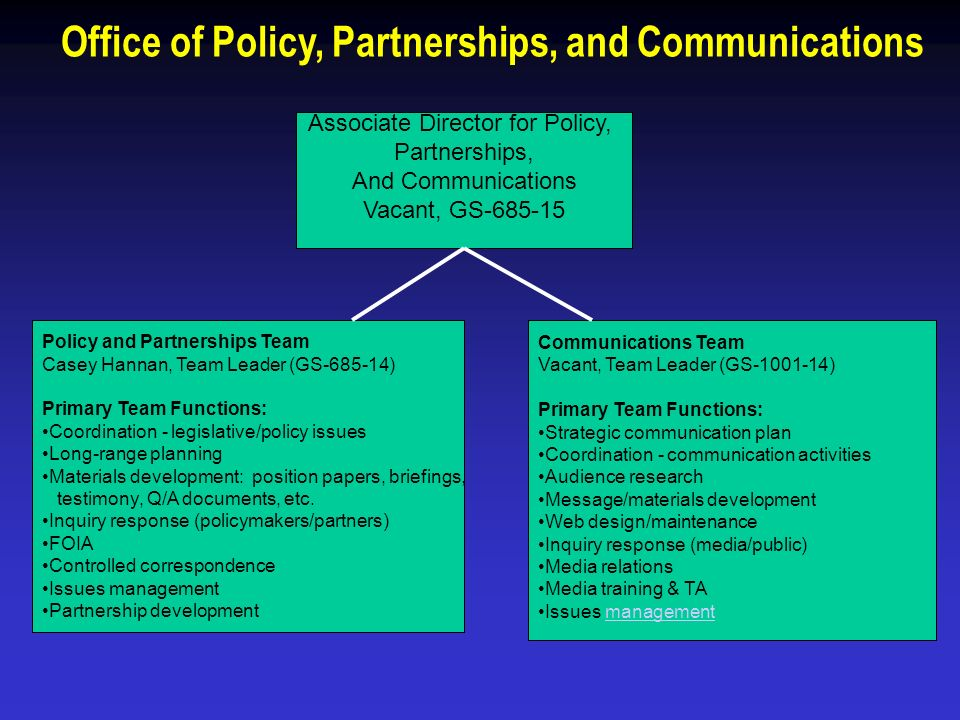 Office of Policy, Partnerships, and Communications