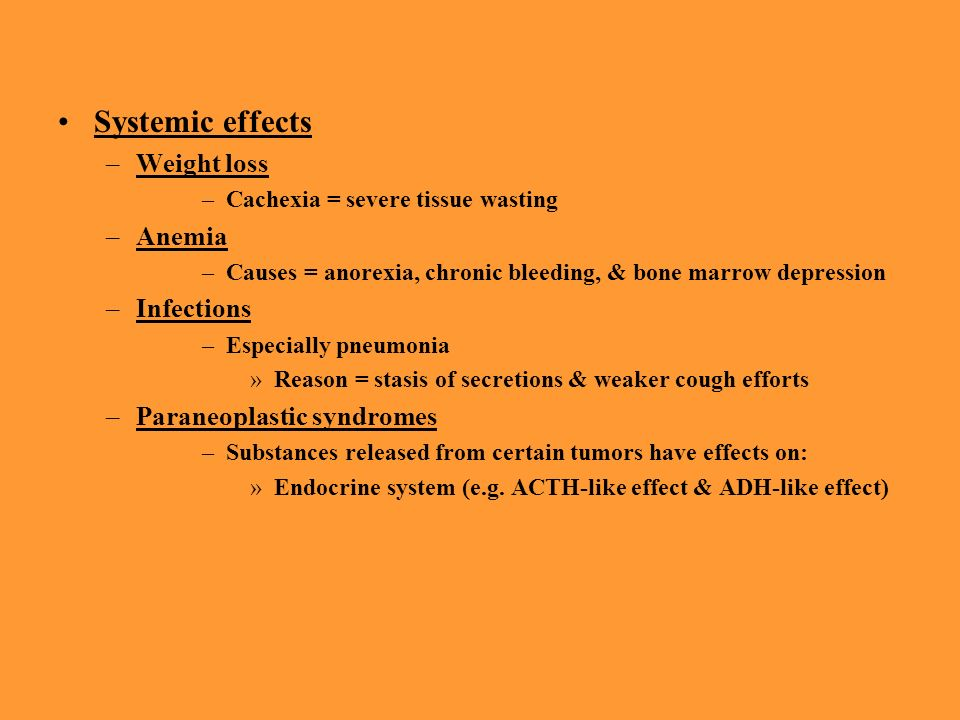 Systemic effects Weight loss Anemia Infections