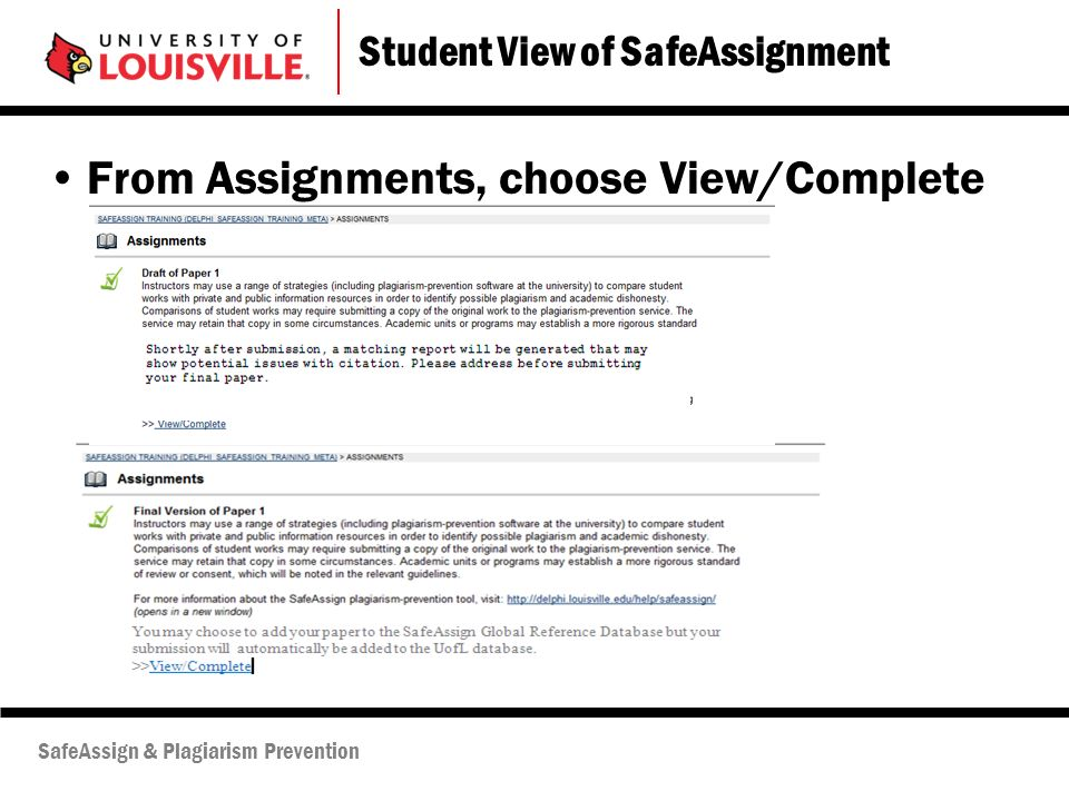 safe assignment for students