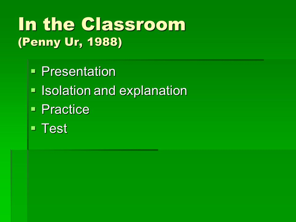 In the Classroom (Penny Ur, 1988)