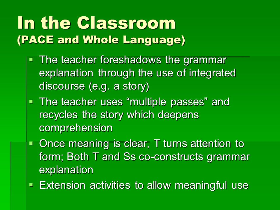 In the Classroom (PACE and Whole Language)