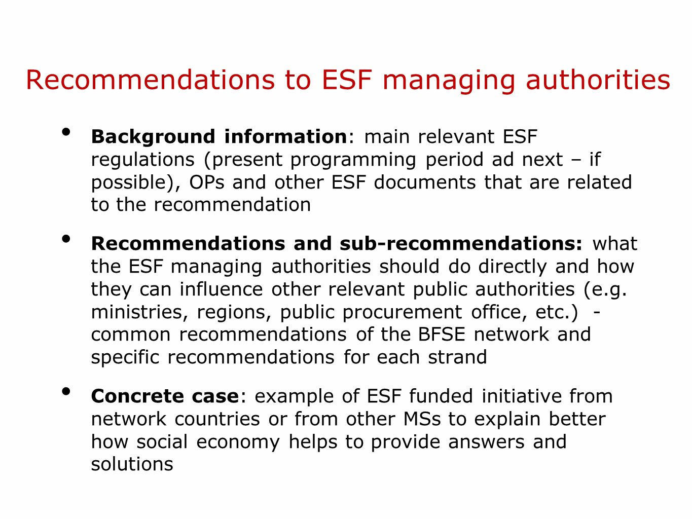 Recommendations to ESF managing authorities
