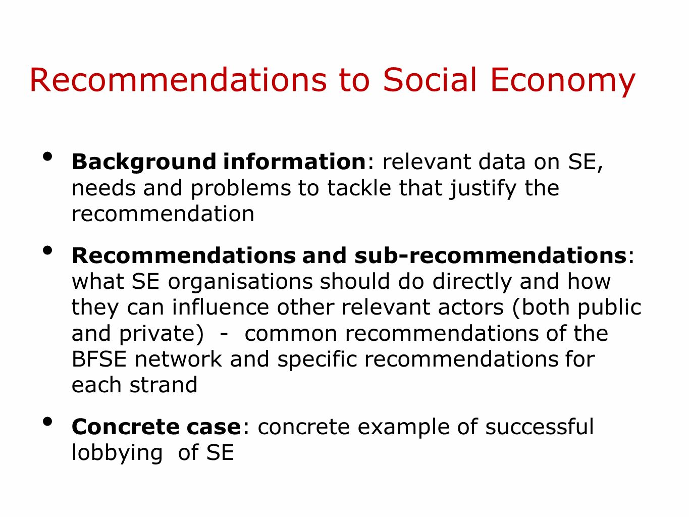 Recommendations to Social Economy