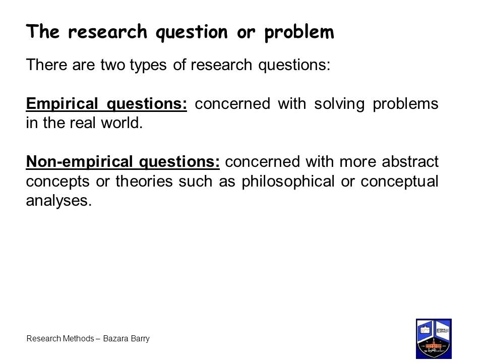 The research question or problem