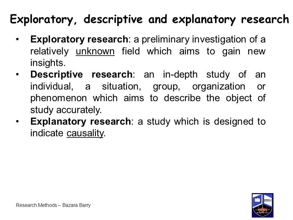 Exploratory, descriptive and explanatory research