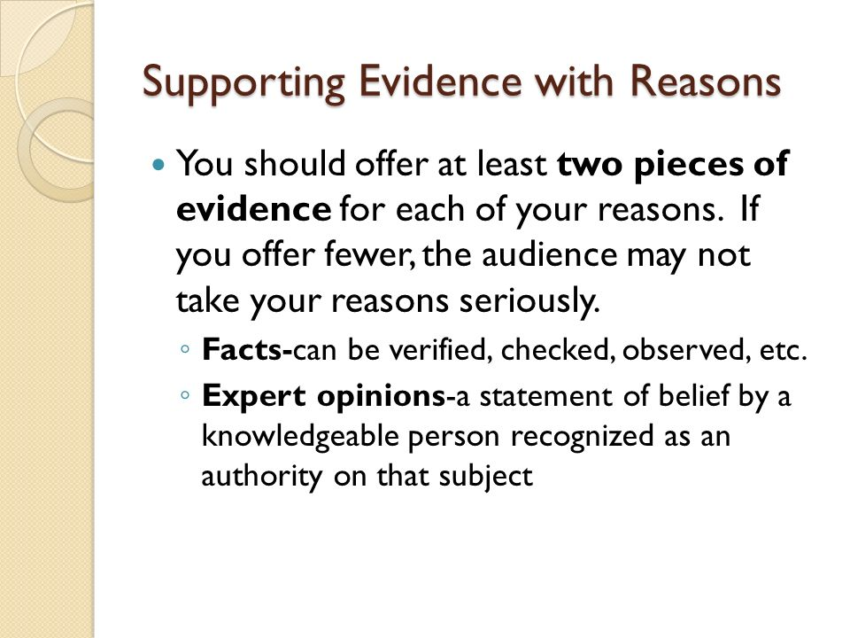 Supporting Evidence with Reasons