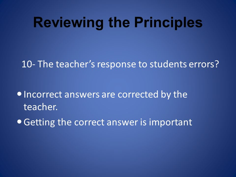 Reviewing the Principles