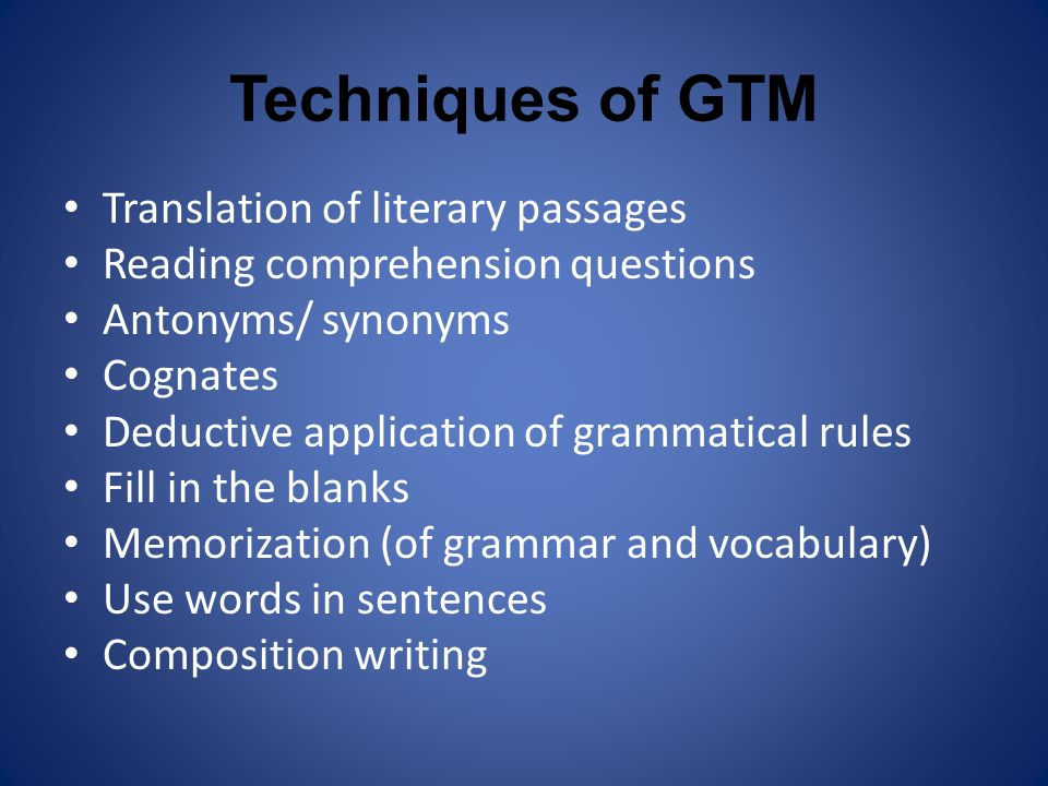 Techniques of GTM Translation of literary passages