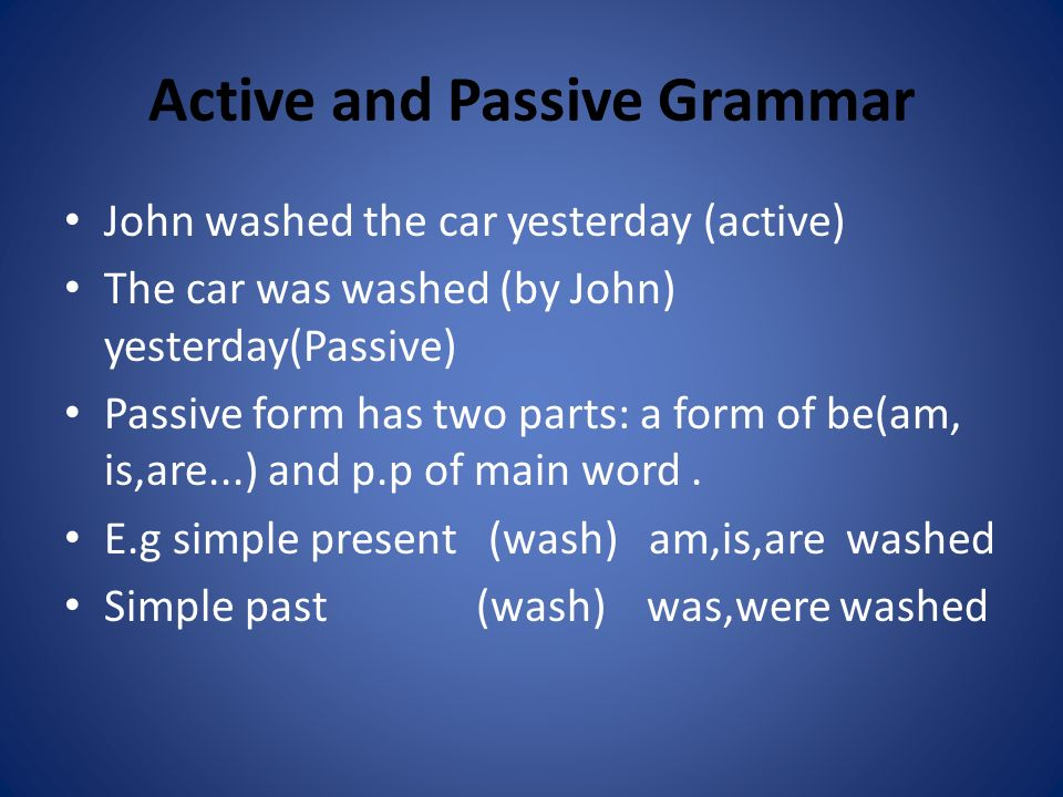 Active and Passive Grammar