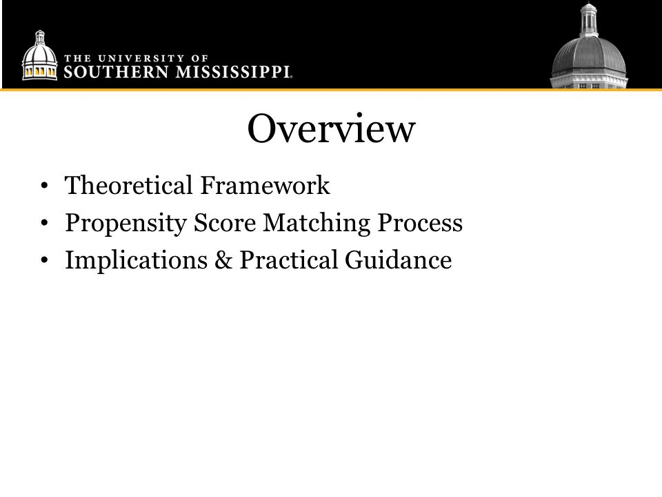Overview Theoretical Framework Propensity Score Matching Process