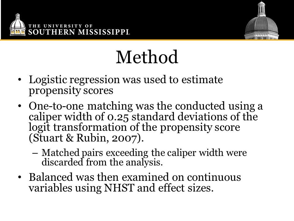 Method Logistic regression was used to estimate propensity scores