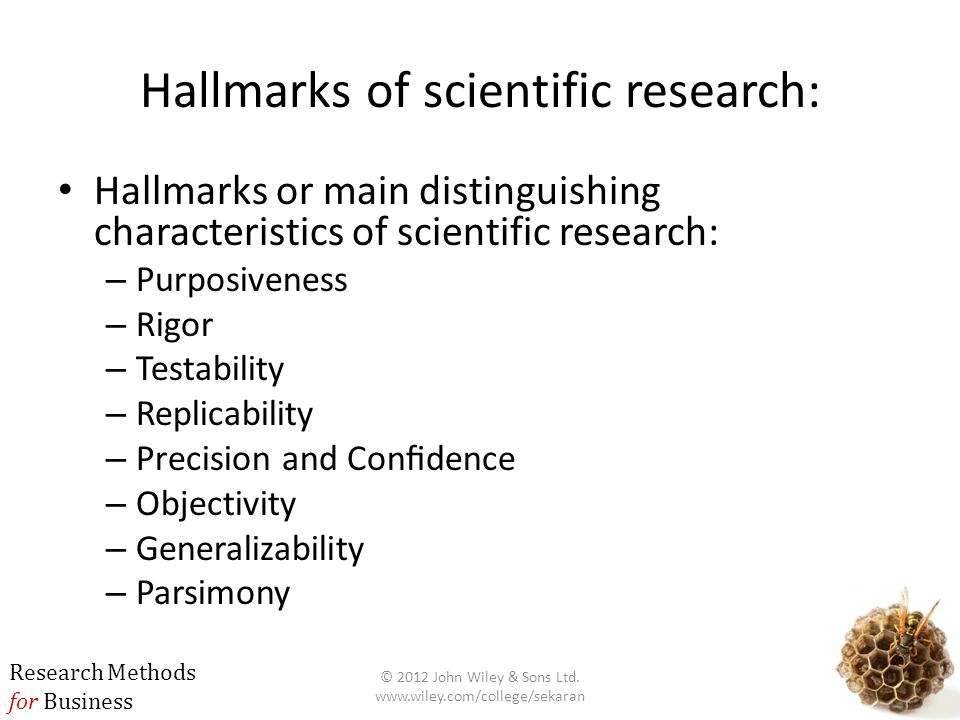 Hallmarks of scientific research: