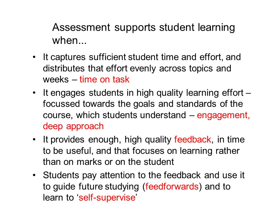 Assessment supports student learning when...