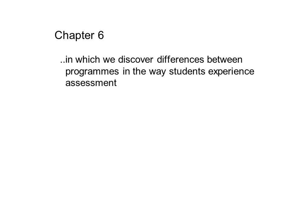 Chapter 6 ..in which we discover differences between programmes in the way students experience assessment.