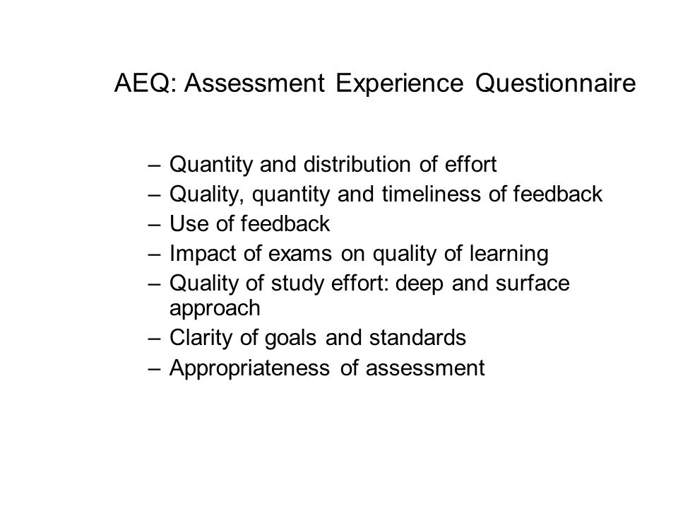 AEQ: Assessment Experience Questionnaire