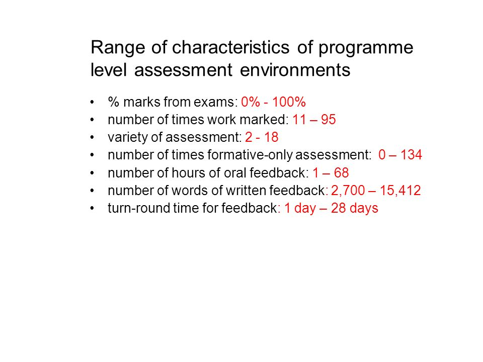 Range of characteristics of programme level assessment environments