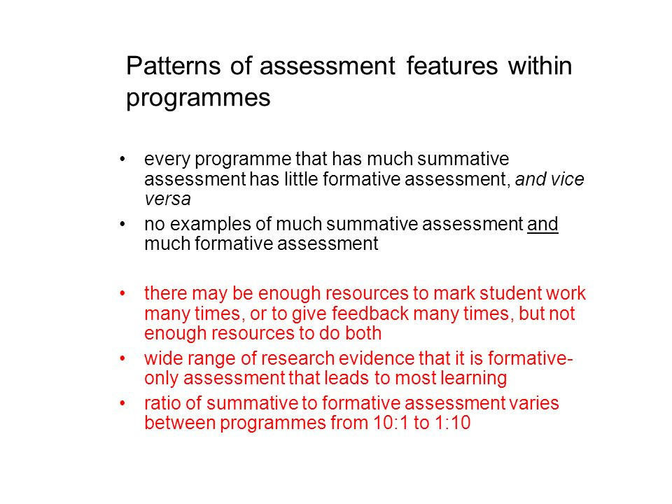 Patterns of assessment features within programmes