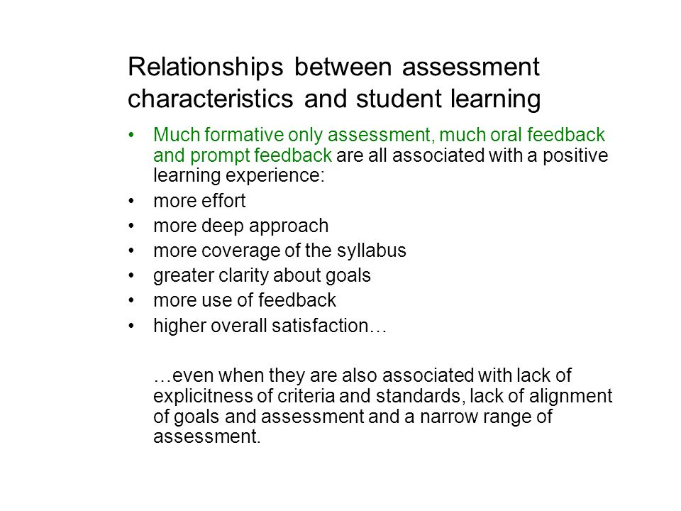 Relationships between assessment characteristics and student learning