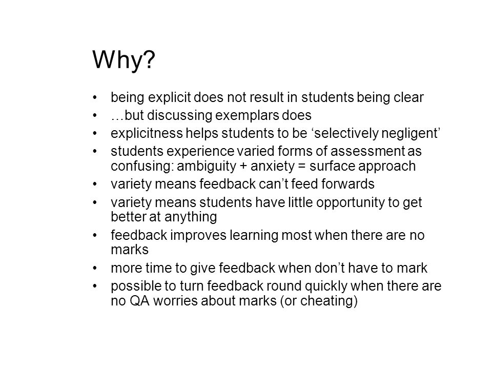 Why being explicit does not result in students being clear