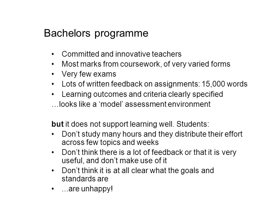 Bachelors programme Committed and innovative teachers