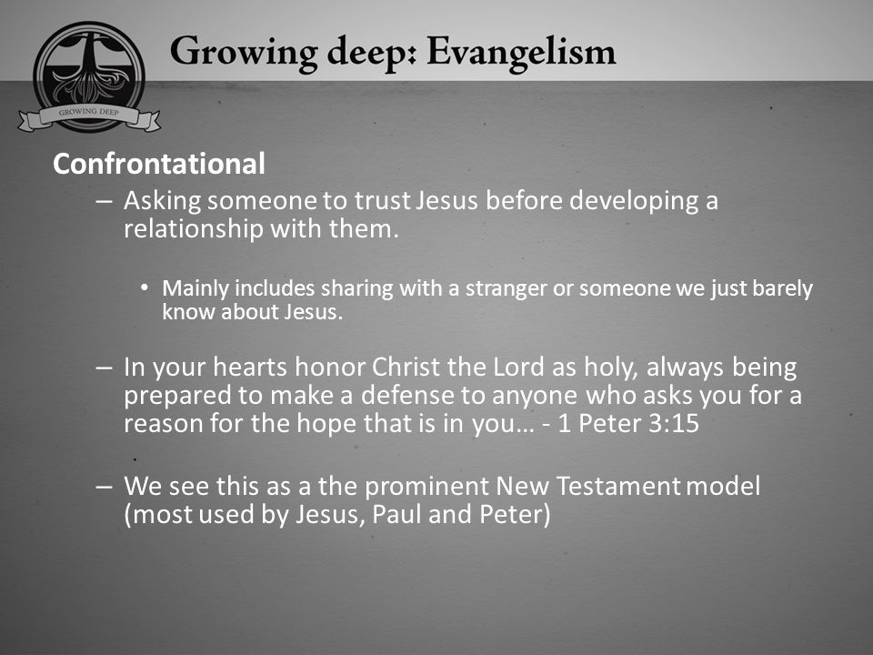 Confrontational Asking someone to trust Jesus before developing a relationship with them.