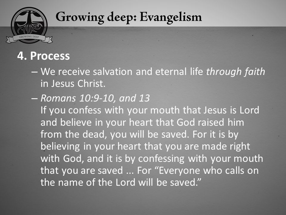 4. Process We receive salvation and eternal life through faith in Jesus Christ.