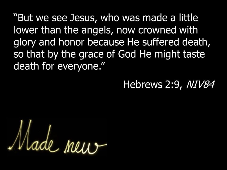 But we see Jesus, who was made a little lower than the angels, now crowned with glory and honor because He suffered death, so that by the grace of God He might taste death for everyone. Hebrews 2:9, NIV84