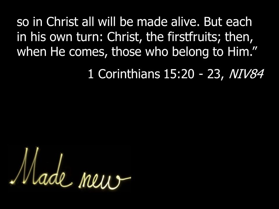 so in Christ all will be made alive