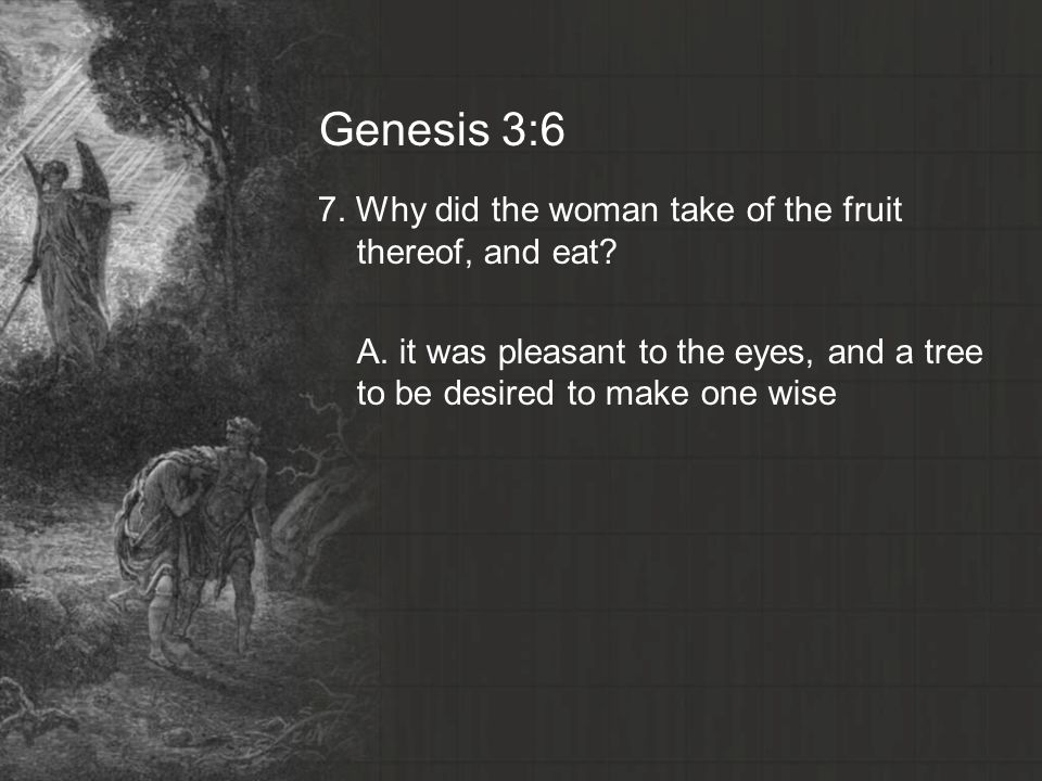 Genesis 3:6 7. Why did the woman take of the fruit thereof, and eat