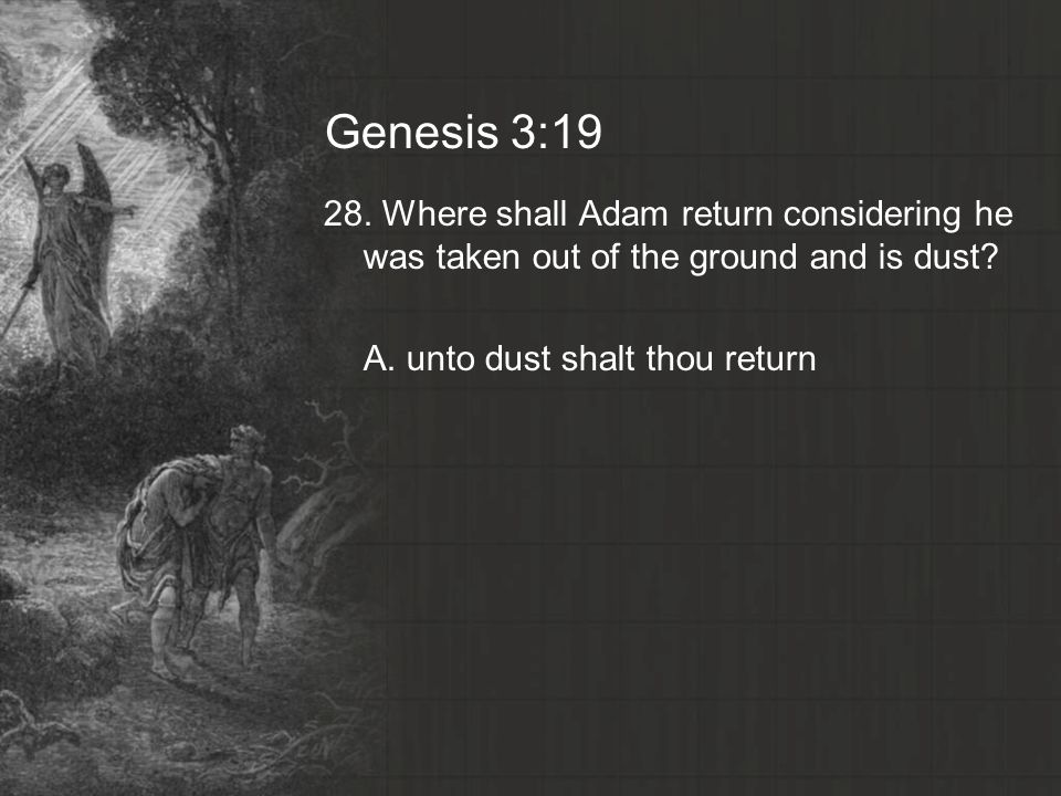 Genesis 3: Where shall Adam return considering he was taken out of the ground and is dust.