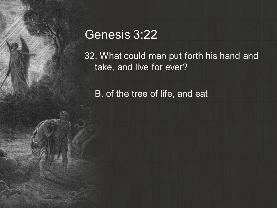 Genesis 3: What could man put forth his hand and take, and live for ever.