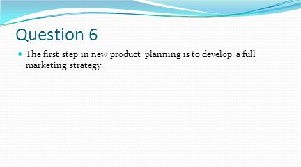 Question 6 The first step in new product planning is to develop a full marketing strategy.