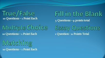 True/False Fill in the Blank Matching Essay Questions Multiple Choice