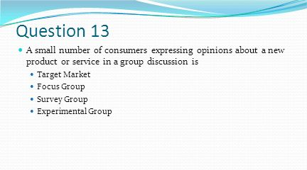 Question 13 A small number of consumers expressing opinions about a new product or service in a group discussion is.