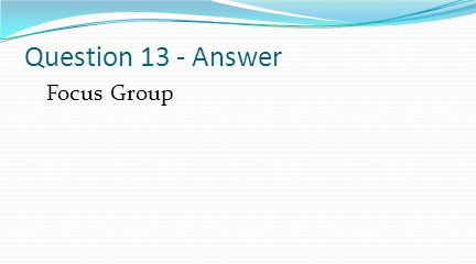 Question 13 - Answer Focus Group