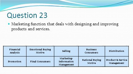 Question 23 Marketing function that deals with designing and improving products and services. Financial Analysis.
