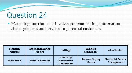 Question 24 Marketing function that involves communicating information about products and services to potential customers.