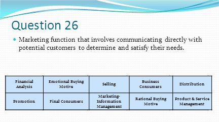 Question 26 Marketing function that involves communicating directly with potential customers to determine and satisfy their needs.