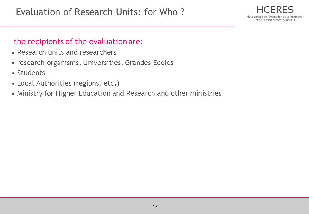 Evaluation of Research Units: for Who
