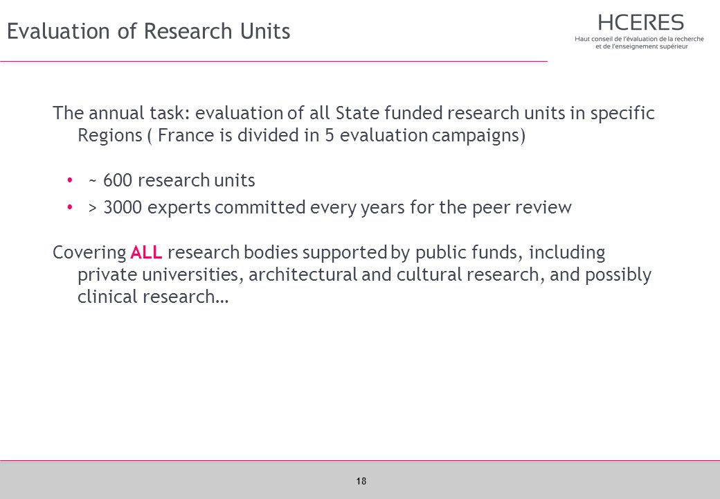 Evaluation of Research Units