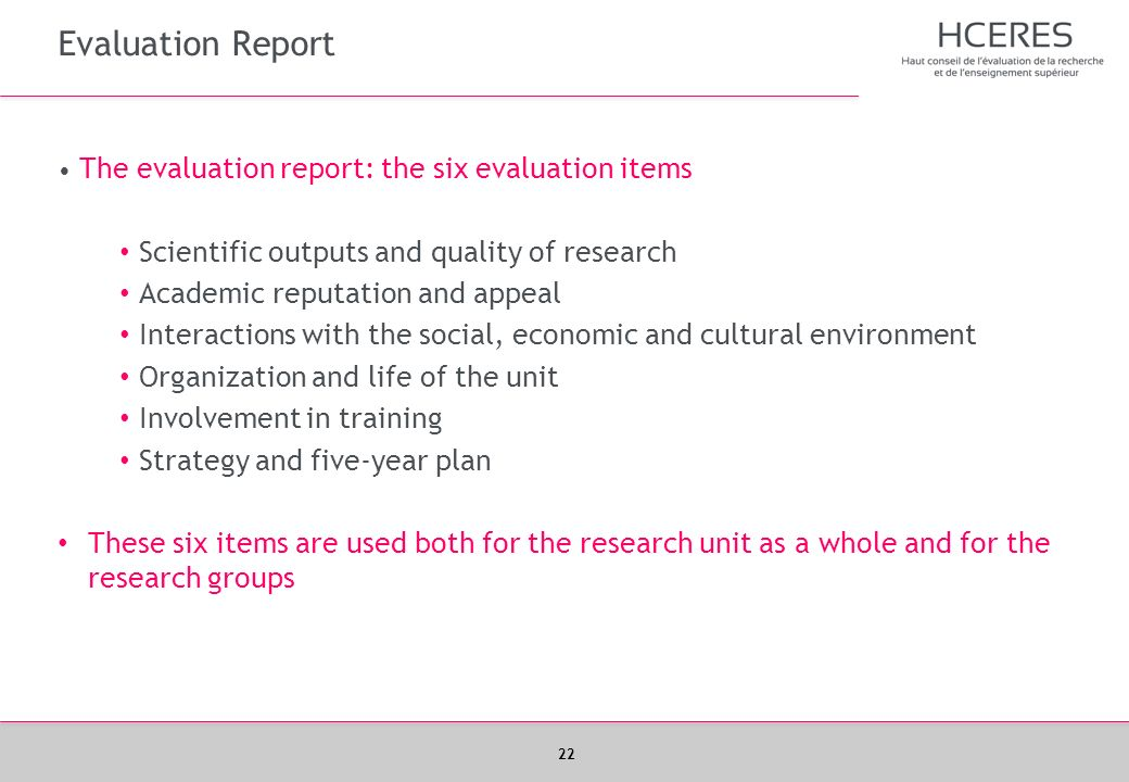 Evaluation Report Scientific outputs and quality of research
