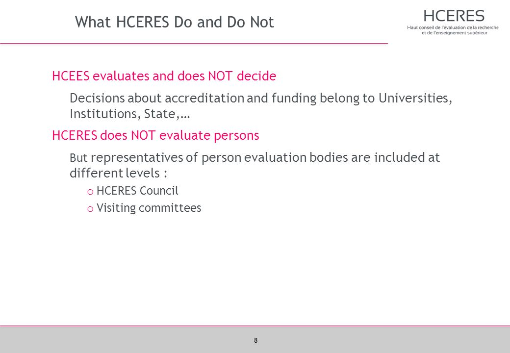 What HCERES Do and Do Not