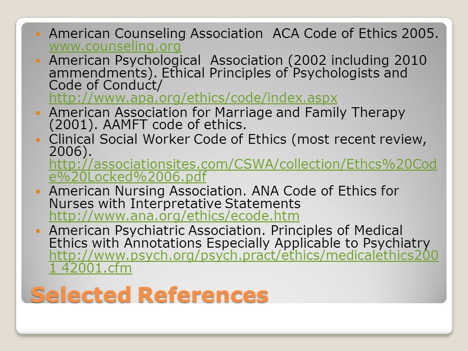 american counseling association code of ethics