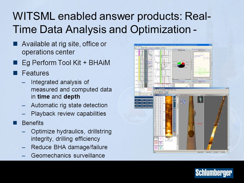 WITSML enabled answer products: Real-Time Data Analysis and Optimization -