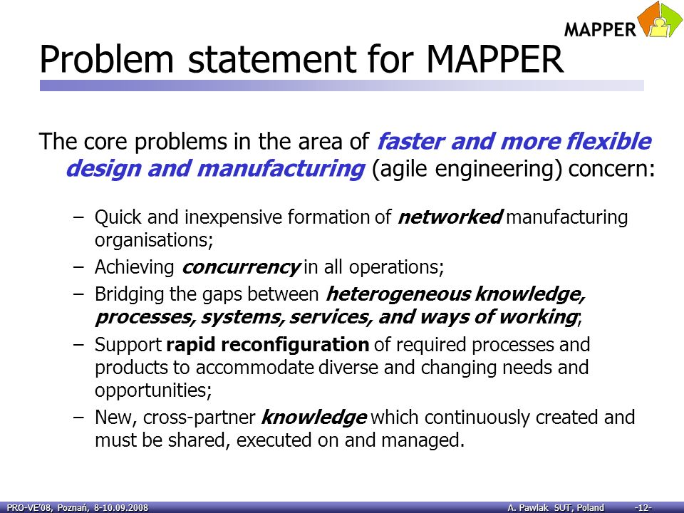 Problem statement for MAPPER
