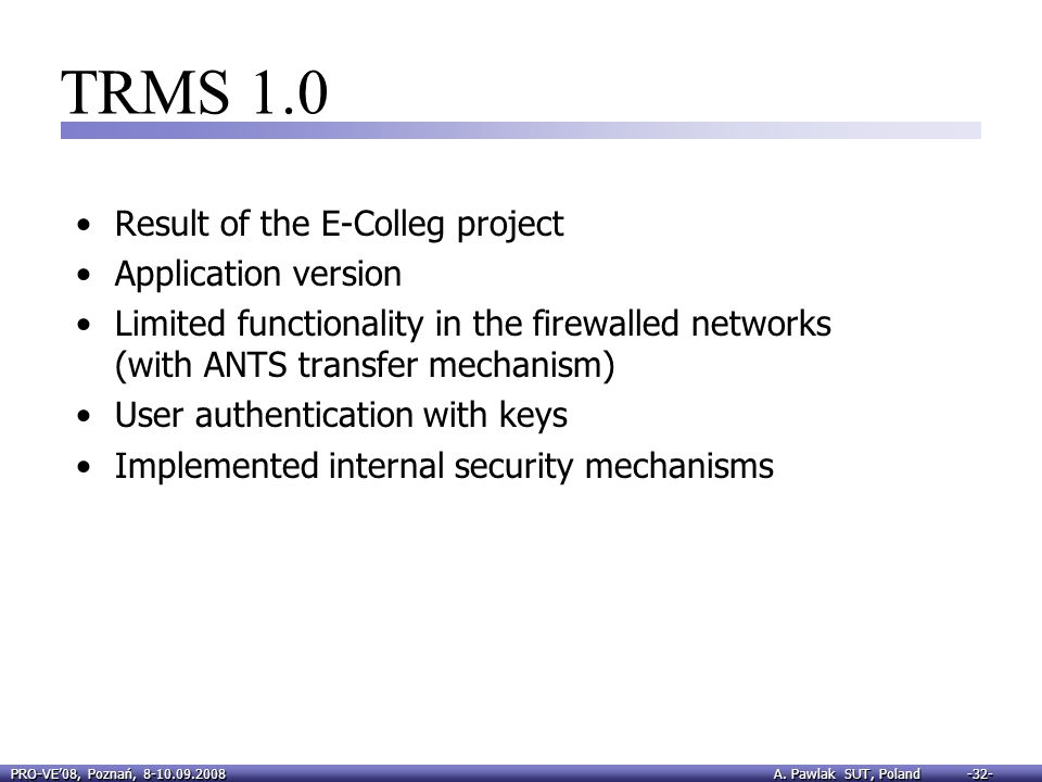 TRMS 1.0 Result of the E-Colleg project Application version