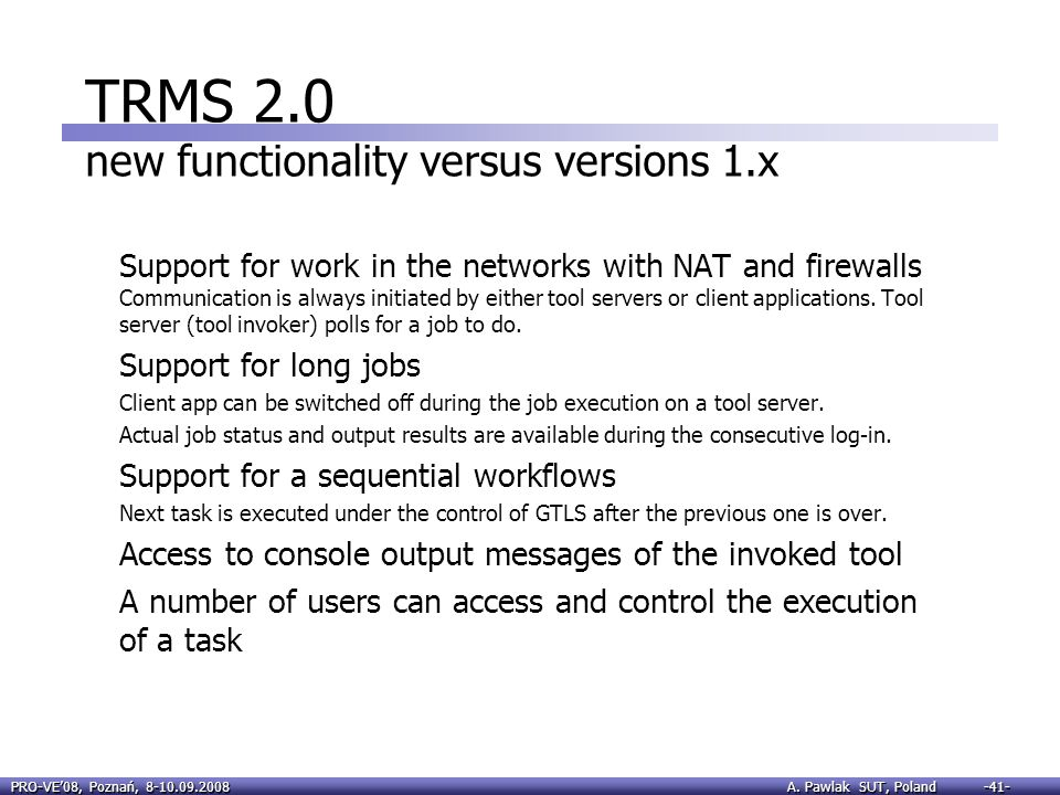 TRMS 2.0 new functionality versus versions 1.x